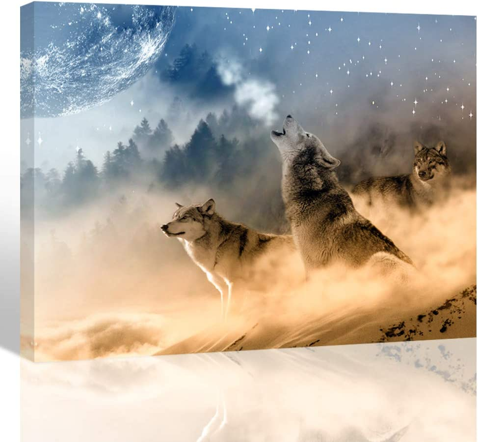 Purple Verbena Art Howling Wolves Pictures Canvas Printing Art Modern Nature Animal Photo Painting Home Wall Art Decor for Room Office Living Room Wall Artwork 12x16 inches Picture Frames