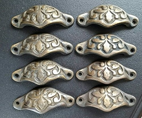 8 Antique Style Solid Brass Apothecary Drawer Bin Cup Pull Handles with Oak Leaf design 2 7/8
