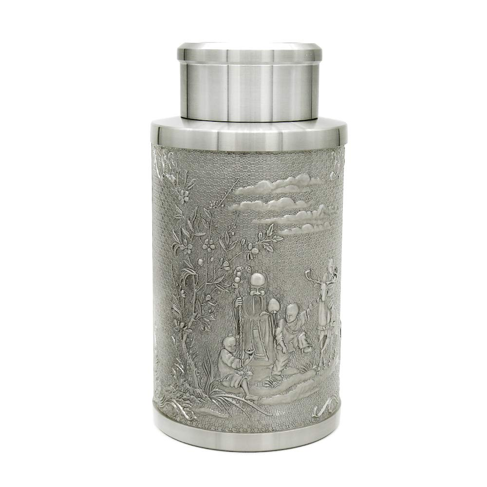 Oriental Pewter - Pewter Tea Storage, Caddy - Hand Carved Beautiful Embossed with Chinese Traditional Patterns of God of Longevity & Hundred''FU'' Pure Tin 97% Lead-Free Pewter Handmade in Thailand
