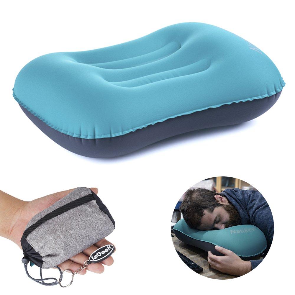 Ultralight Aufblasbares Kissen, Tragbare Kissen Luftkissen Sitzkissen für Outdoor-Reisen Camping Wandern Strand-Blau