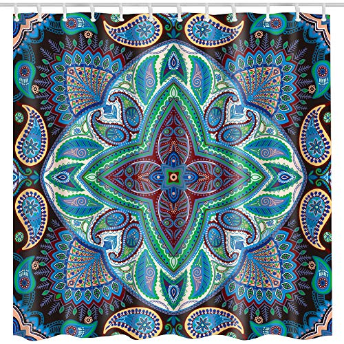 Paisley Shower Curtain,Blue Colorful Damask Paisley Floral Geometric Flower Pattern Printed Bath Curtain,Polyester Waterproof Fabric Bathroom Decor Set with Hooks,72x72 Inch,Blue,Green,Dark Blue