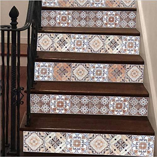 Zller2587 Pegatinas De Escaleras Azulejos De La Escalera Árabe Decoración Pegatinas Autoadhesivas Calcomanías De Vinilo para Escaleras DIY Escalera Renovación PVC Decal Escalera Mural 6 Unids/Set: Amazon.es: Hogar