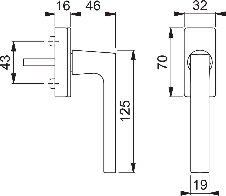 Vierkant 7 x 32 mm Messing verchromt matt HOPPE 3484522 Fenstergriff DalLochabstands-Secustik
