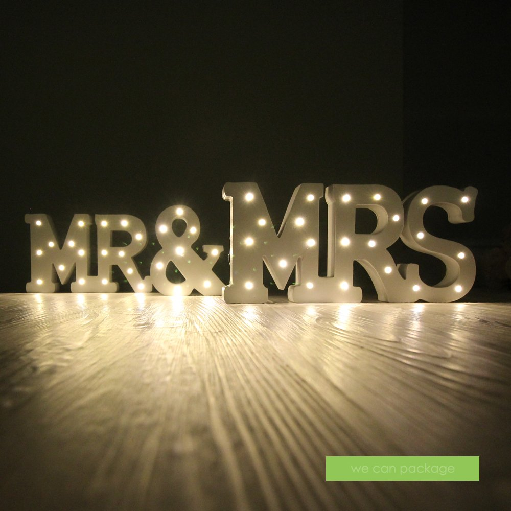 Amazon.com: MR & MRS Boda Signo luces LED mesa de Sweetheart ...