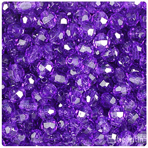 Faceted Amethyst Bead Necklace - BeadTin Amethyst Transparent 8mm Faceted Round Craft Beads (450pcs)