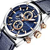 Men Watches Business, MF MINI FOCUS Quartz Waterproof (30M, Blue, Casual) Wristwatch, Sport Design Leather Band Strap Wrist Watchs for Men Gift