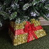Premier Christmas Xmas Tinsel Tree Skirt Gold With Red Ribbon