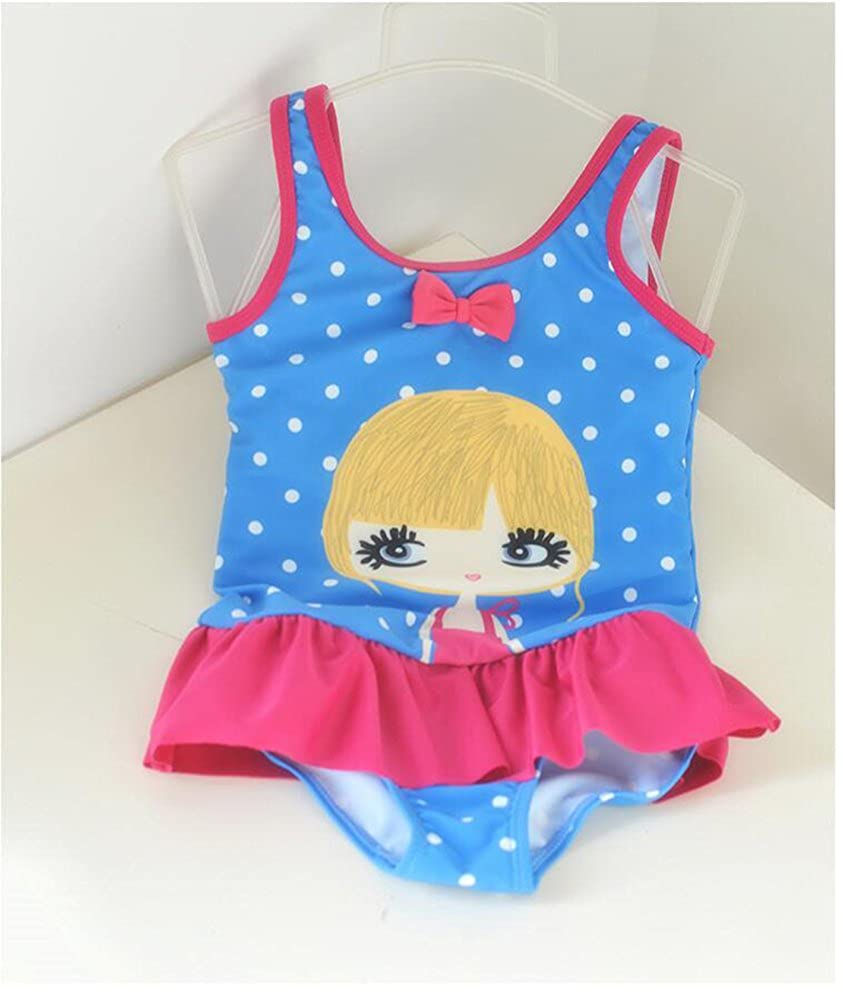 Little Girls Blue Wave Point 1 Piece Swimsuit