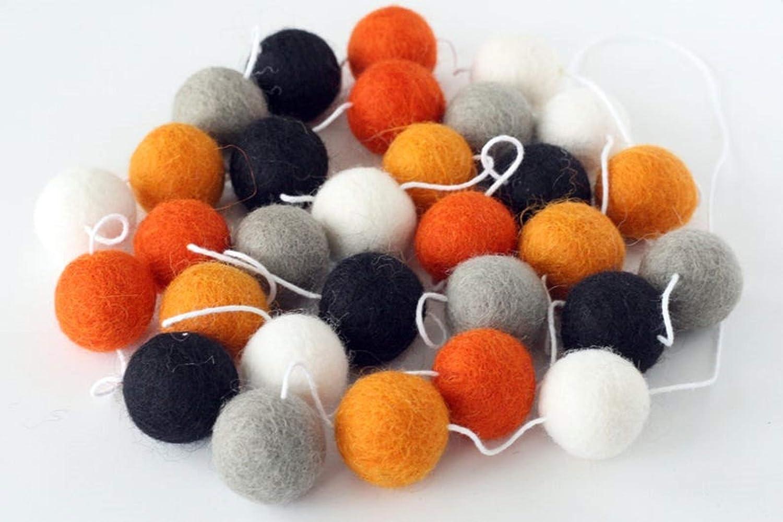 Halloween Spooktacular Pom Pom Garland Halloween Felt Ball Garland Orange Black White swirls and dots wool felt ball Fall Garland