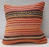 16'' X 16'' Vintage Woven Unique Pastel Striped Kilim Pillow Cover 40 X 40cm