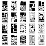 H&R Stencils 20 Pack Durable 4x7 inch Journal Stencil Set- Plastic Stencils for Journaling Scrapbooking Moleskine Notebook Diary Card Art Bullet Journal Stencil DIY Projects