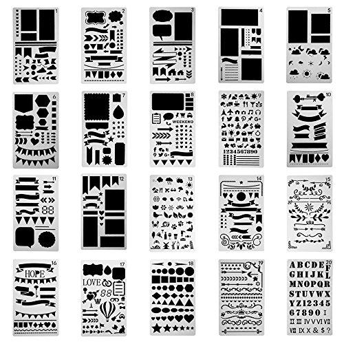 H&R Stencils 20 Pack Durable 4x7 inch Journal Stencil Set- Plastic Stencils for Journaling Scrapbooking Moleskine Notebook Diary Card Art Bullet Journal Stencil DIY Projects by H&R Stencils
