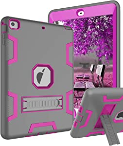TOPSKY Case Compatible with iPad Air/A1474/A1475/A1476, Heavy Duty Shockproof Rugged Defender Built in Kickstand Protective Cover Cases for iPad Air,Grey Pink
