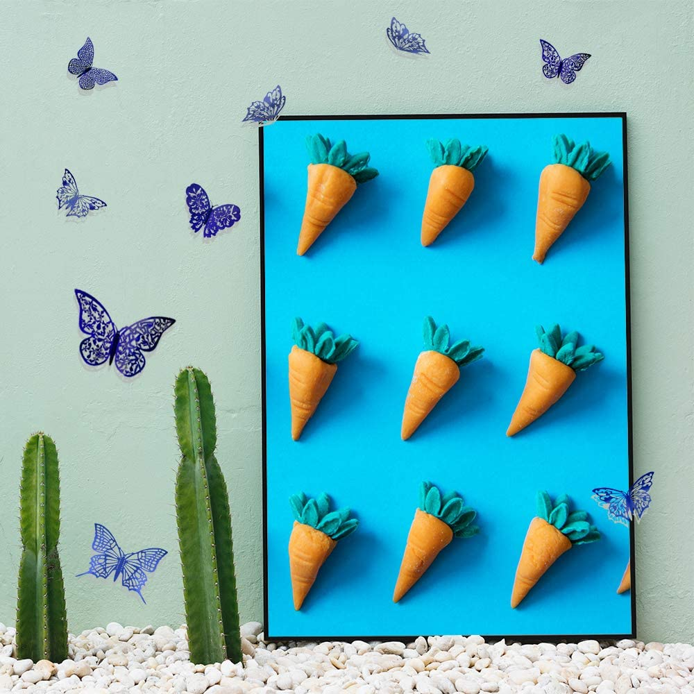 Removable Mural DIY Home Decor for Kids Girls Bedroom Nursery Party Wedding 60Pcs 3D Butterfly Wall Decals Sticker 5 Styles+Dark Blue MOTASOM Metallic Hollow-Out Art Decorations