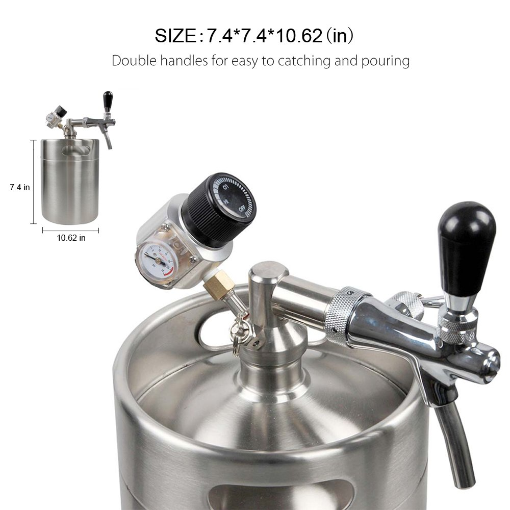 HAVEGET 5L Min Beer Keg for Home Brew Beer Dispenser System CO2 Adjustable draft Beer Faucet with stainless steel Beer barrels Regulator by HG (Image #2)