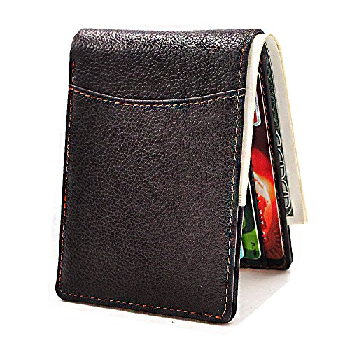 Mens Front Pocket Wallets Bifold RFID Genuine Leather Wallet ID Window Card Holder (Brown 2) (Two Fold Id Holder)