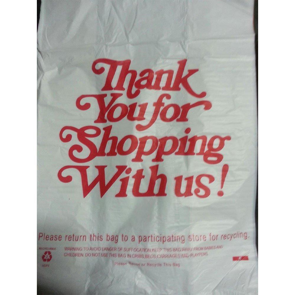 20Wx10Gx36H 30 Micron HeavyDuty White Thank You Plastic T Shirt Bags/Case of 300