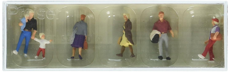 HO Model Figure 6 Preiser 10517 Pedestrians Walking Travelers #2 Package