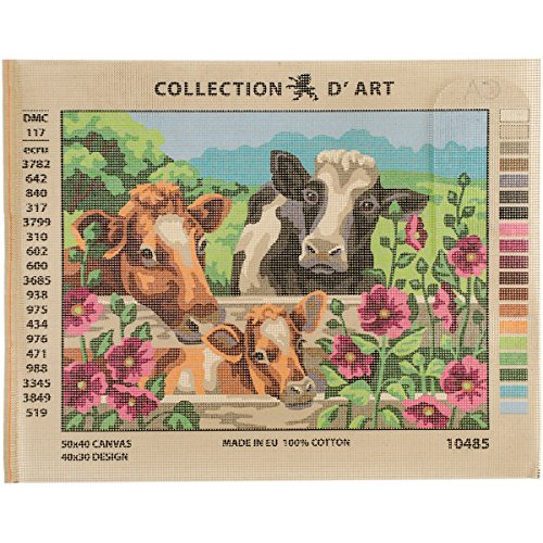 RTO'' Cows D'Art Needlepoint Printed Tapestry Canvas, 40 x 50cm by RTO