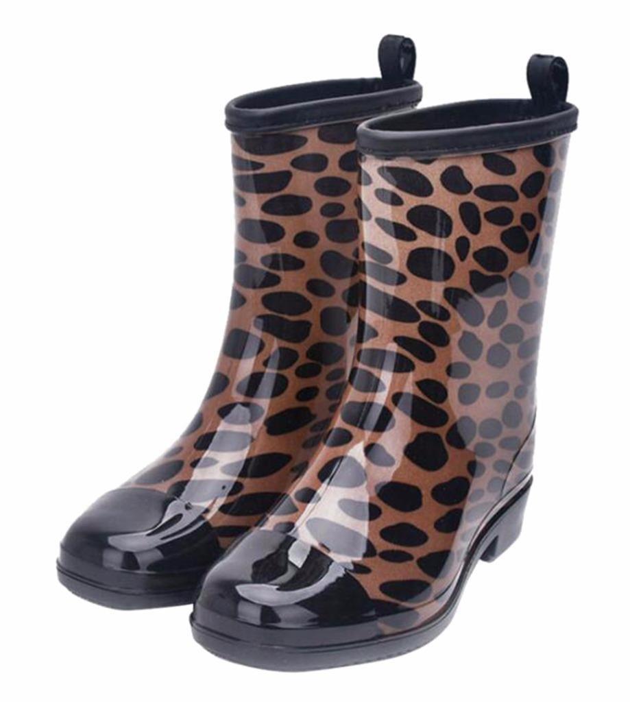 Jiu du Women's Block Heel Waterproof Rain Boots and Garden Round Toe Fashion Rain Shoes B07CLM9LK1 US8.5/CN41/Foot long 25.5cm|Leopard Print Pvc