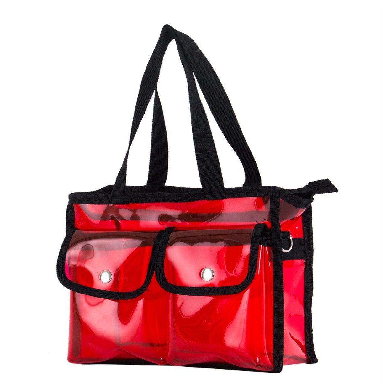 Cosmetic Makeup toiletry wash bag Travel handbag PVC transparent various colours Make-Up (Pink)