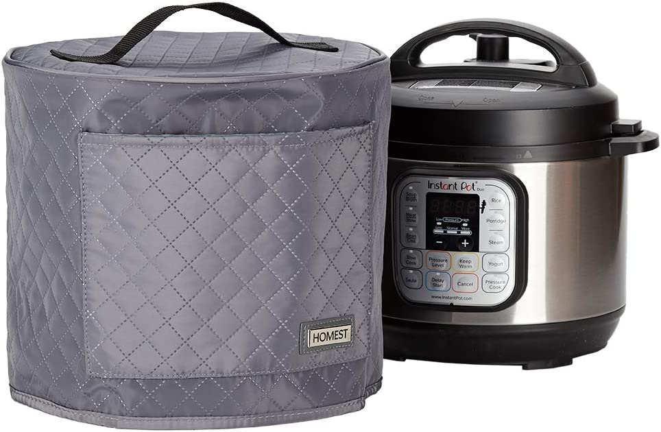 HOMEST Quilted Dust Cover with Pocket Compatible with Instant Pot 3 Quart, These Pressure Cooker Cover Have Wipe Clean Liner for Easy Cleaning, 3 Cover Sizes, Grey (Patent Design)