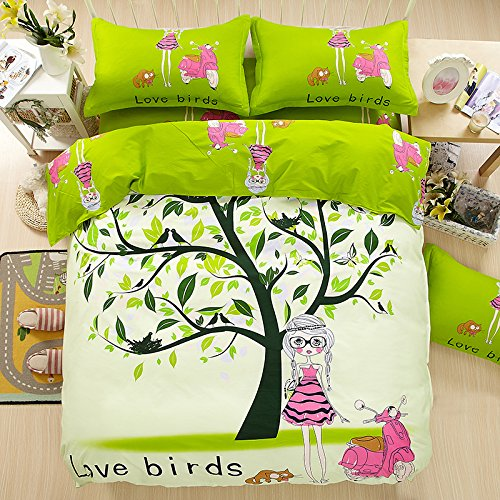 Love Bird Toile Green (TheFit Paisley Bedding for Adult U134 Green Love Birds and Girl Duvet Cover Set 100% Cotton, Queen Set, 4 Pieces)