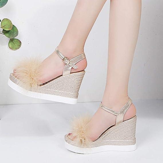 a7d65401c81 Amazon.com  JJLIKER Women Summer Chunky Platform Wedges Peep Toe Sandals  Espadrille High Heel Pumps Ankle Buckle Strap Shoes  Clothing
