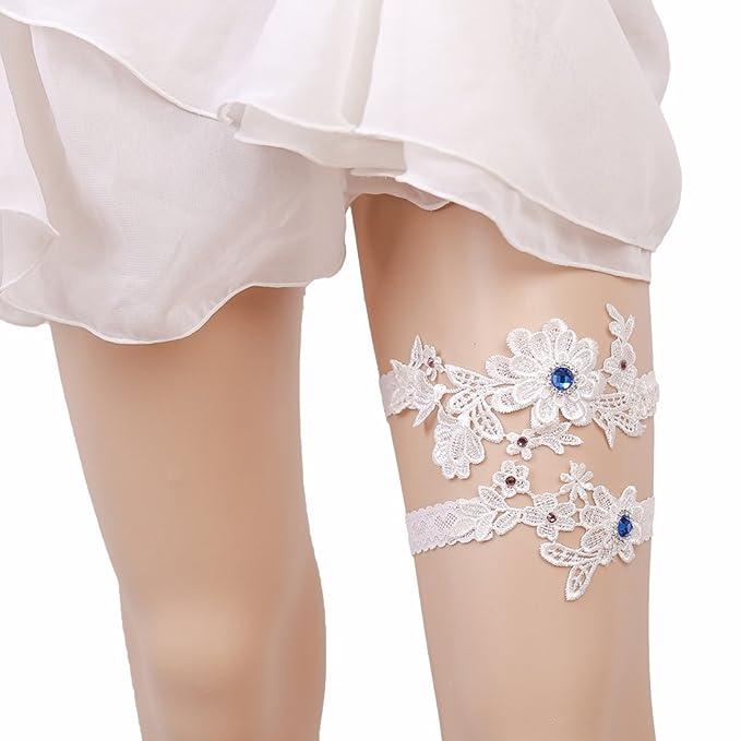 193eeb3ffc Bueer 2PC Wedding Bridal Lace Garter Set Keepsake Toss Tradition Vintage  (1-Royal Blue