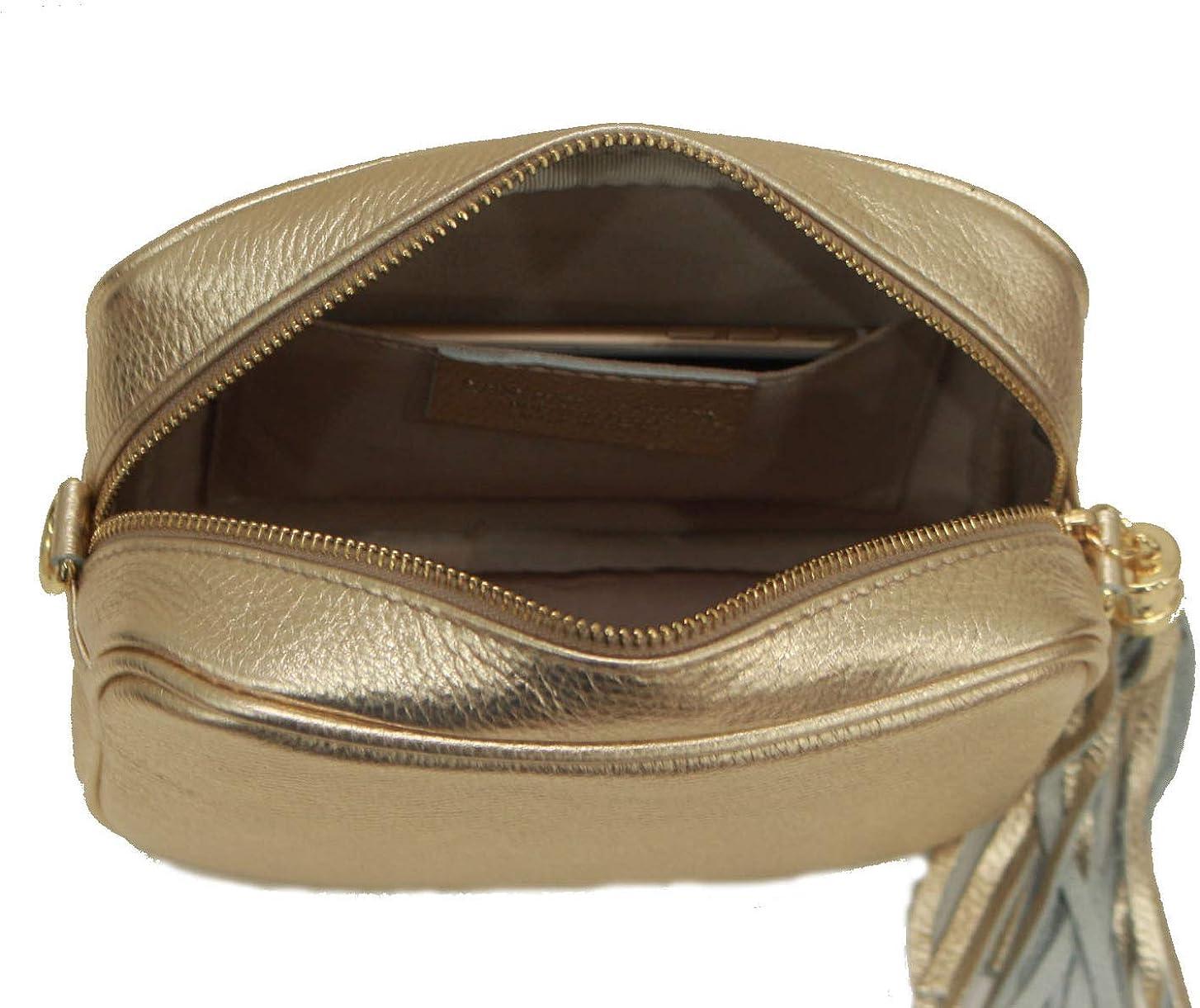 A to Z Leather Borsa da donna a tracolla morbida e compatta in vera pelle per donna con nappa in pelle e hardware dorato Oro