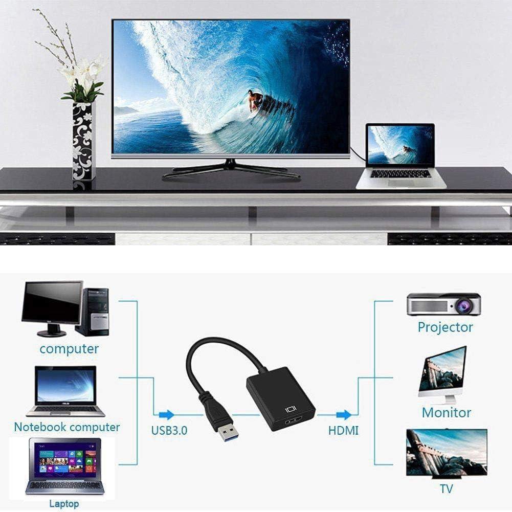 Adaptador USB 3.0 a HDMI, OZRY USB 3.0/2.0 a HDMI 1080P Full HD (macho a hembra) Video Audio Multi Monitor Converter Compatible con Windows XP / 10/8.1/8/7: Amazon.es: Electrónica