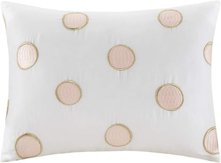 Intelligent Design Lorna Metallic Print Mermid Scale Scallop Polka Dots Ultrasoft Microfiber Comforter and Sheet Set Bag Bedding Twin XL Blush 6 Piece