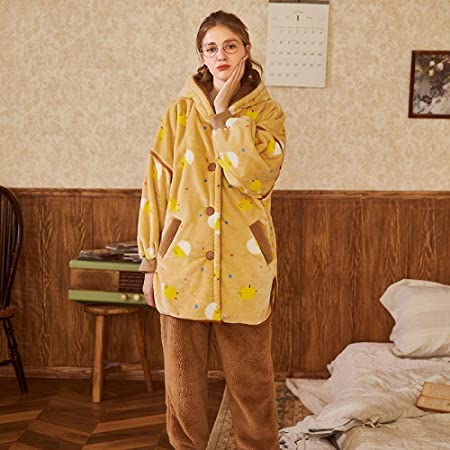 227296a888 HWG-GAOYZ Nightwear Ladies Pyjamas Set Winter Sleepwear Loungewear Goose  Yellow Flannel Cardigan Hooded Thick