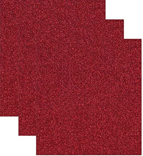 Glitter Red Iron on Vinyl Heat Press Vinyl for T-Shirts 12 x 10 5 Sheets//Pack Red TECKWRAP Red Glitter Heat Transfer Vinyl