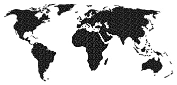 Carte Du Monde Noir.Sticker Mural Carte Du Monde Noir Un Motif Integre De Fleurs