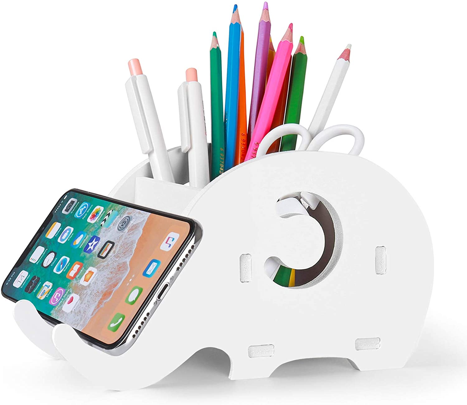 Creative Elephant Pencil Holder Multifunctional Office Accessories Desk Decoration with Cell Phone Stand Tablet Desk Bracket for iPad iPhone Smartphone and More Mokani Desk Supplies Organizer
