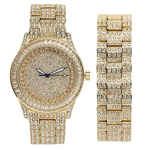 Iced Out Money Moves with This Rollie Look Baquette and Full Rhinestone Gold Tone Mens Watch w/Matching Iced Bracelet - ST10228B Gold