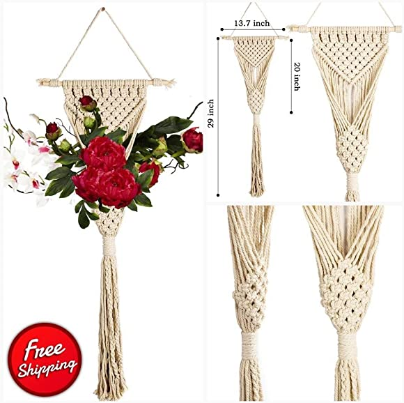 Idea DenVi Macrame Wall Hanging Macrame Hanging Decoration Bohemian Wall Decor Decorative Wall Art Tapestry 2 Pack