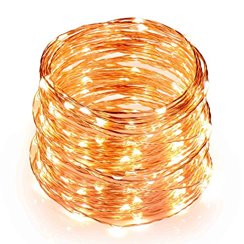 Sunnest Outdoor String Lights Fairy Lights 100LED 33ft Copper Wire Lights Waterproof(Warm White)