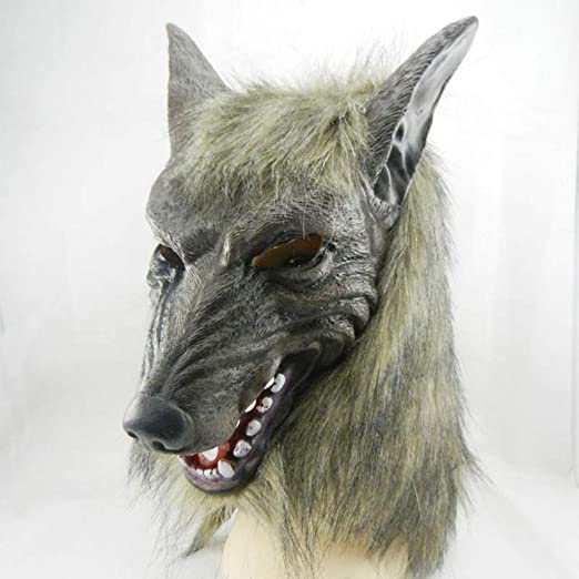 WOLF DOG NOSE Rubber Animal Costume Mask Toy Funny Joke Fangs Teeth Wild Prop