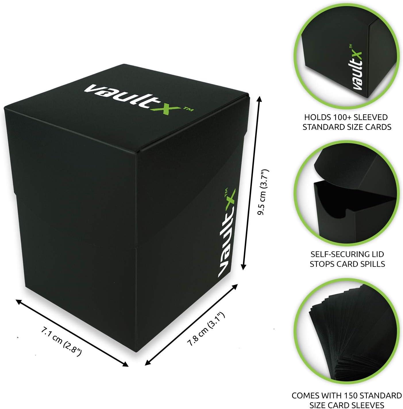 Vault X® Caja Grande de Cartas con 150 Fundas Negras - Tamaño Grande para 100+ Cartas en Fundas - Porta Tarjetas Libre de PVC para TCG (Negro): Amazon.es: Juguetes y juegos
