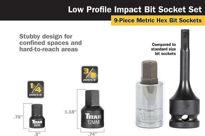 Titan Tools 16141 Low Profile Stubby Metric Hex Bit Socket Set 9 Pieces