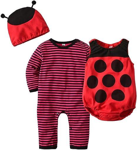 3 piezas Halloween Disfraz Ladybug Bebe Recién Nacido Mono ...