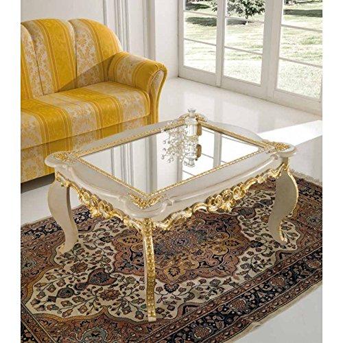 Tavolini Da Salotto Classici Foglia Oro.Mocada Tavolino Classico Da Salotto Intagliato A Foglia Avorio Oro Soggiorno