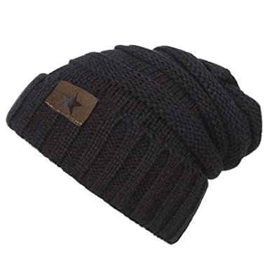 25d798c26e8 EVRFELAN Soft Winter Warm Knitting Hat Cable Beanie Solid Daily Slouchy Hats  Skull Cap (Black2