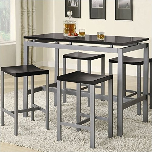 Coaster 5-Piece Metal Dining Set with 4 Barstools, (Coaster Black Metal)