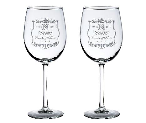 Amazon Personalized Set Of 2 Wedding Wine Glasses Vineyard