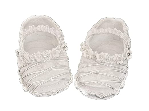 cc477120f95de Amazon.com  S5 Girls Baptism Christening Silk Booties White  Clothing