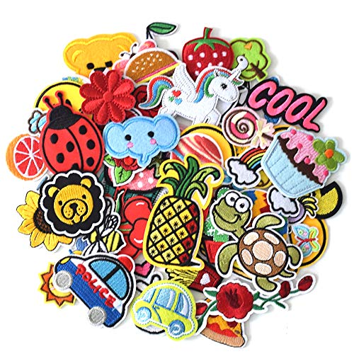 SHELCUP 60PCS Cool Embroidered Iron on Patches, for Jackets, Packs, Jeans, Assorted Styles