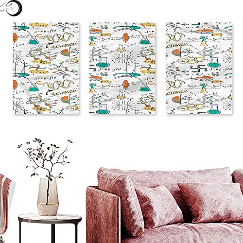 - Anniutwo Doodle Canvas Print Wall Art Science Lab Objects Triptych Art Set W 24